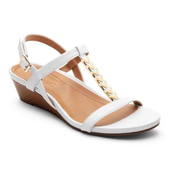 cd0e7f3cf48e Vionic Cali White T Strap Wedge Heel Sandal NEW